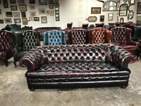 Fantastic vintage oxblood leather chesterfield 3.5 seater sofa UK delivery