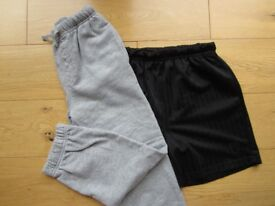 BOYS AGE 8-9 PE KIT ~ GREY JOGGERS & BLACK SHORTS ~ EXCELLENT CONDITION ~ £2 FOR BOTH ITEMS