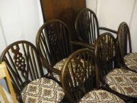 TRADITIONAL DARK WOOD TABLE AND 6 CHAIRS