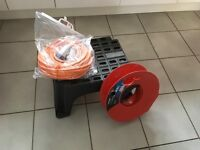 Caravan/motor home electric 25m cable, reel and steps