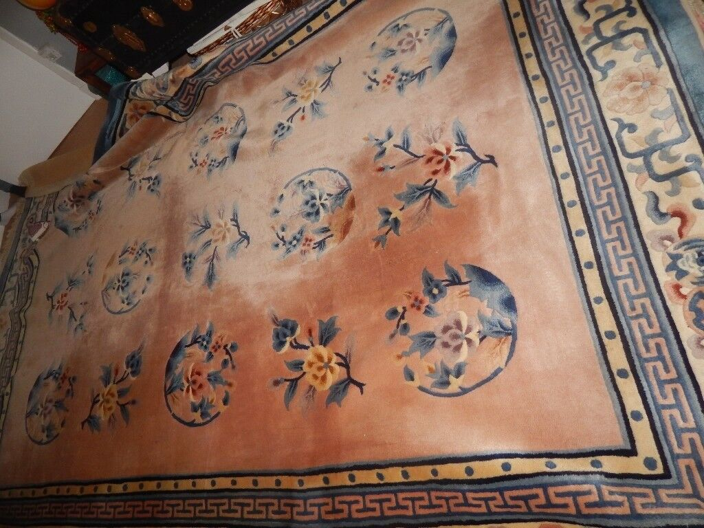 12ft Large Wool Rug Hand Knotted Chinese Oriental Vintage