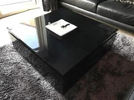 Hollow gloss black coffee table