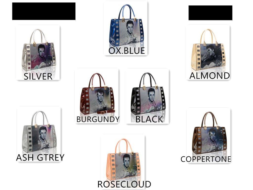 Womens 3D ELVIS FILM Design Shiny Patent Leather Large Tote Handbag Shoulder Bag