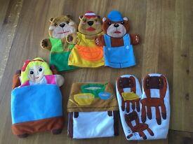 Goldilocks & The Three Bears 7-piece hand puppet set