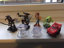 Disney infinity characters and playset crystals - woody, lightning, captain jack sparrow etc