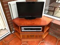 TV stand, wooden unit, with shelves and drawer