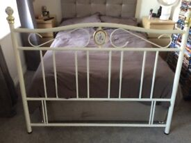 White metal headboard for double bed with floral and brass detail Collection only