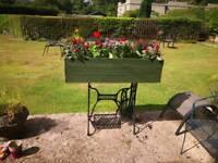 Raw iron vintage Singer sewing machine base planter box