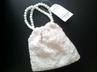 Next cream small sequin bag with beaded handles new with labels. £5