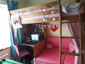 Pine highsleeper with desk and sofa