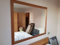Large Mirror with Wooden Frame