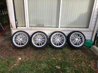 17inch SSW mono block alloy wheels + tyres 4x100 Vauxhall , honda , bmw.