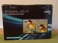 "Cello 20"" LED TV / DVD/ USB with 240v plug for house & 12v plug for caravan/ motorhome- like new"