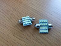 2 x Bright White LED Dome Lights 31mm