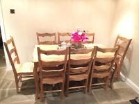 NEARLY NEW Solid Wood Dining Table amd 9 Chairs