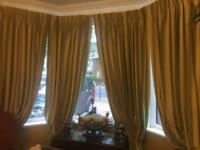 Bespoke moire silk curtains 109 inches long