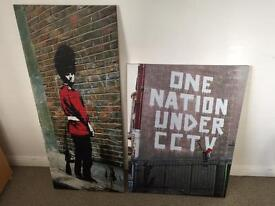 Banksy canvas prints. £10 each or both for £17