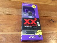 Brand new JVC In-Ear Headphone 1 Button Remote and Microphone Extreme Bass Ports Violet