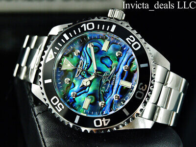 NEW Invicta Men's 47mm PRO DIVER Quartz DIAMOND Abalone Dial Silver Tone Watch