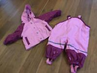 Baby waterproof coat and trousers, age 6-12m