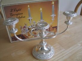 silver plated candelabra / candle holder
