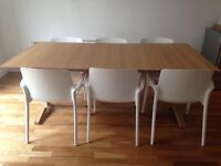 Habitat 8 Seater Parker Dining Table and 6 White Chairs