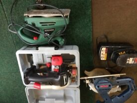 2battery saws and sander