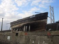 """LARGE HISTORIC BOAT """"THE BRUCES"""" WITH ENGINE FOR SALE"""