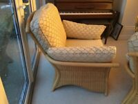 Conservatory Furniture very good condition Two large armchairs Desk Chair and coffee table to match.
