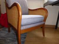 Armchair, x2, beautiful curved armrest in pair only for sale
