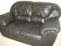 Black Leather Settee/Sofa and Armchair