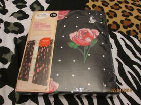 BLACK PATTERNED ROCKABILLY ROSE PATTERN CURTAINS BRANDS NEW 66 INCH WIDE X 54 INCH DROP
