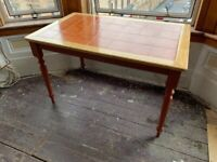 Tiled table with ornate spindle legs 120cm x 74cm