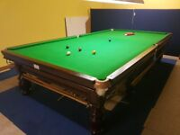 Full size 12x6 antique snooker table with turned legs