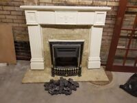 Gas fire, marble hearth