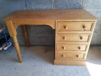Solid pine desk with 4 drawers. Ideal for school child's desk