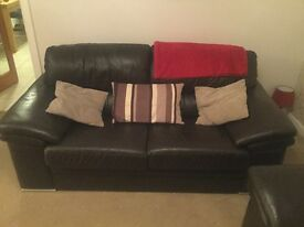 2x good condition chocolate leather 2 seater sofas including foot stool *non smoking house*