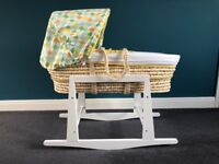 Mothercare Roll Up Roll Up Moses Basket + My Child Rocking Moses Basket Stand