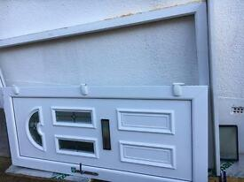 Upvc front door, frame and side glass panel.
