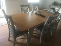 Shabby chic style manufactured grey dining room extendable table and 6 chairs nearly new