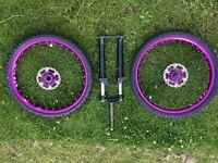 "Marzocchi d-street 24"" fork halo sas wheels + more purple bits"