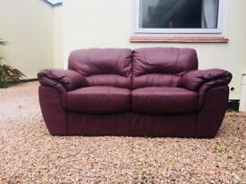 Double Leather Sofa, Dark Brown, Great Condition