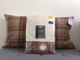 ** Brand New ** Dunelm Mill Luxury Eyelet Curtains & Cushions Set in Red/Blue/Cream Tweed Pattern