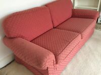 PAIR OF M&S ROSE PINK SOFAS: 2 SEATER & 3 SEATER, VERY COSY
