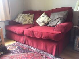 Three Piece suite (3 seater sofa + 2 armchairs) - Plum - Chenille