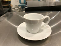 White 'Royal Porcelain' Espresso coffee cups and saucers x 26