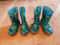 Boys flashing welly boots wellies size 6