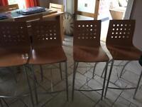 Four bar / kitchen stools beach colour