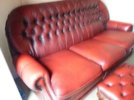 CHESTERFIELD OXBLOOD LEATHER 3 SEATER SOFA + 1 ARMCHAIR + FOOTSTOOL, GOOD CONDITION £495 CAN DELIVER