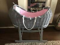 Stylish Grey Baby Moses Basket Crib and Rocking Stand